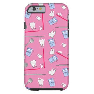 Higienista dental de las herramientas y rosa de funda resistente iPhone 6