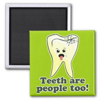 Higienista dental del dentista divertido imán cuadrado