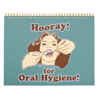 Higienista dental del dentista divertido calendario de pared