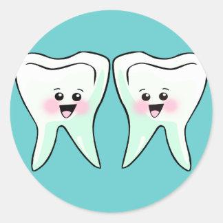Higienista dental del dentista etiqueta redonda