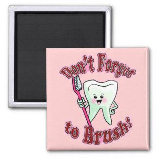 Higienista dental divertido imán cuadrado