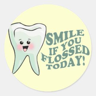 Higienista dental divertido etiquetas redondas