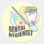 Higienista dental pegatina redonda