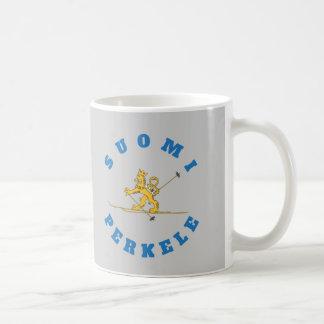 Hiihtävä suomileijona, suomi perkele - muki coffee mug