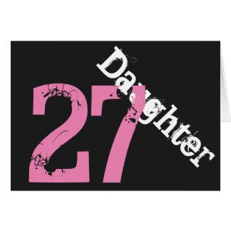 Hija, 27mo cumpleaños, blanco, rosado en negro tarjeta de felicitación