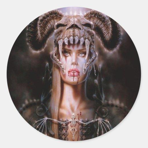 Hija abstracta de los diablos de la fantasía pegatina redonda