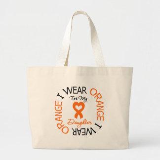 Hija anaranjada de la cinta de la esclerosis múlti bolsa tela grande