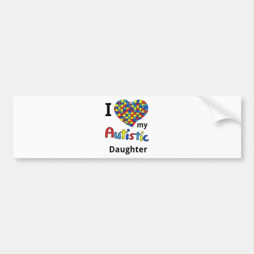 Hija autística etiqueta de parachoque