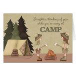 Hija, campamento de verano pensando en usted felicitación