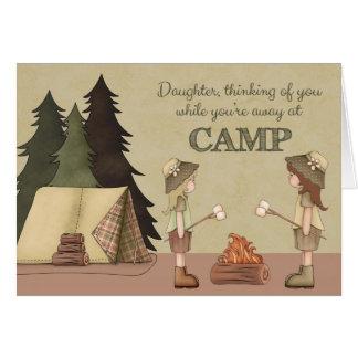 Hija, campamento de verano pensando en usted tarjeta de felicitación