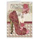 Hija Champán y tarjeta de cumpleaños de los zapato