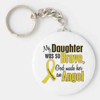 Hija del ÁNGEL 1 del cáncer de la niñez Llavero Redondo Tipo Pin