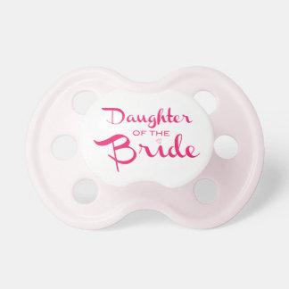 Hija del rosa del pacificador de la novia chupete de bebe