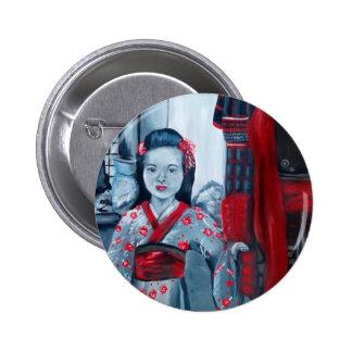 Hija del samurai pin redondo de 2 pulgadas