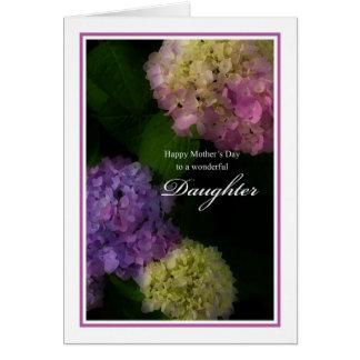 Hija feliz del día de madre, Hydrangea pintado Tarjeta De Felicitación