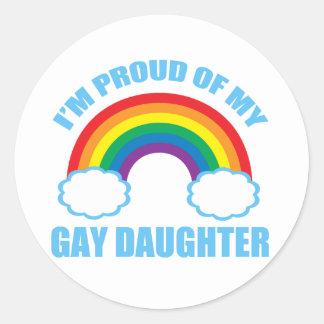 Hija gay pegatina redonda