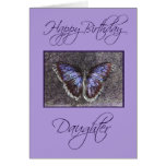 Hija-Mariposa/púrpura del feliz cumpleaños Felicitacion