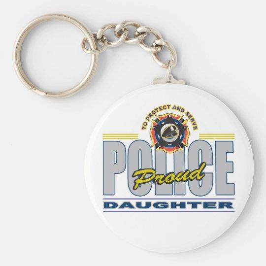 Hija orgullosa de la policía llavero redondo tipo pin