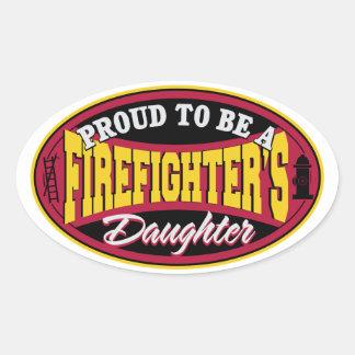 Hija orgullosa del bombero pegatina ovalada