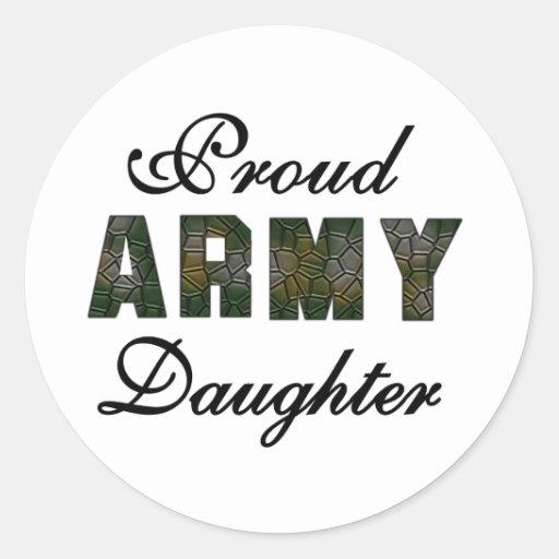 Hija orgullosa del ejército pegatina redonda