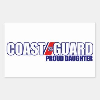 Hija orgullosa del guardacostas pegatina rectangular