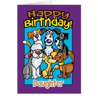 Hija, perros de la celebración del cumpleaños, tarjeta de felicitación