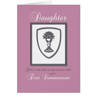 Hija, primera tarjeta feliz de la comunión en rosa