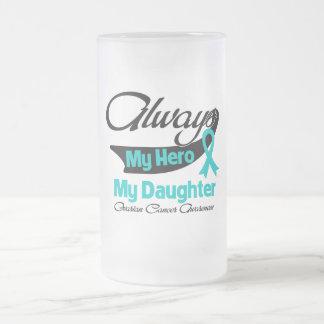 Hija - siempre mi héroe - cáncer ovárico taza de cristal