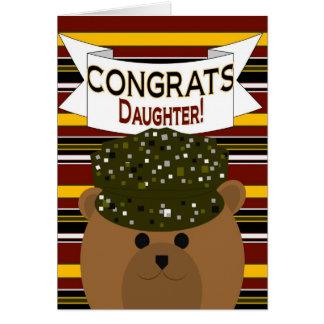 ¡Hija - soldado Congrats del ejército! Tarjeta De Felicitación