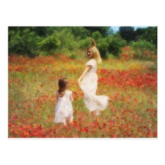 Hija venida de la danza - pintura de la madre y postal
