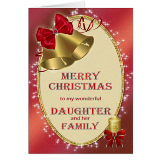 Hija y familia, tarjeta de Navidad tradicional