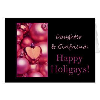 Hija y novia Holigays feliz rosado Tarjeta De Felicitación
