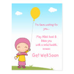 Hijab Girl Get Well Postcard