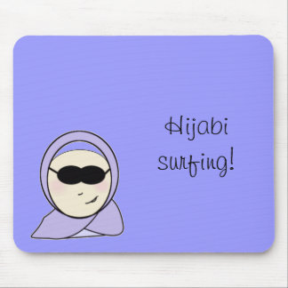 Hijabi surfing - islamic muslim girl with hijab pr mouse pad