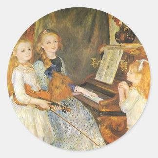 Hijas de Catulle Mendes; Renoir, arte del vintage Pegatina Redonda