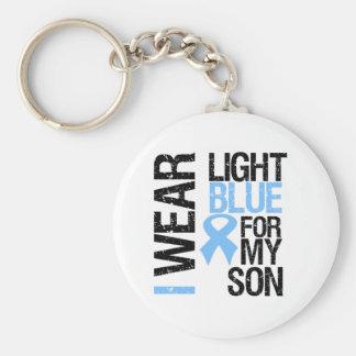 Hijo azul claro de la cinta del cáncer de próstata llavero