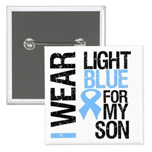 Hijo azul claro de la cinta del cáncer de próstata pin cuadrado