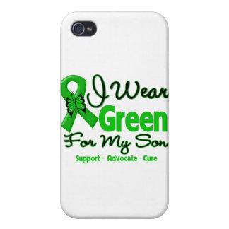 Hijo - cinta verde de la conciencia iPhone 4 cárcasas