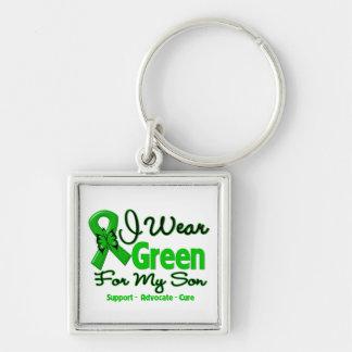 Hijo - cinta verde de la conciencia llavero cuadrado plateado