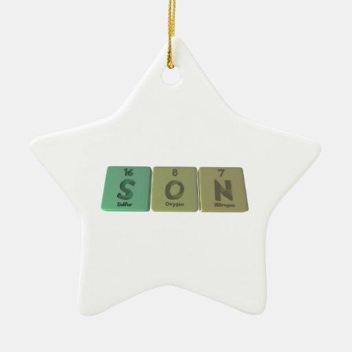 Hijo como nitrógeno del oxígeno del azufre adorno de cerámica en forma de estrella