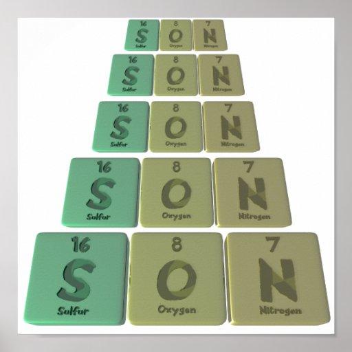 Hijo como nitrógeno del oxígeno del azufre impresiones