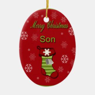 Hijo de las Felices Navidad Adorno Navideño Ovalado De Cerámica