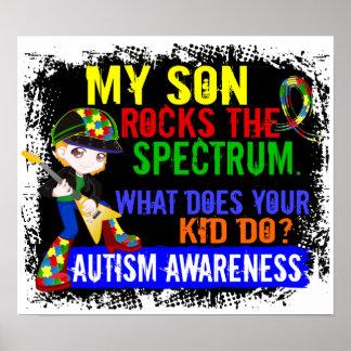 Hijo del autismo del espectro de las rocas posters