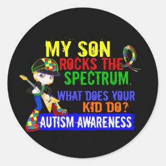 Hijo del autismo del espectro de las rocas pegatina redonda