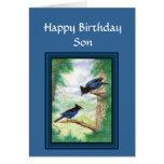 Hijo del cumpleaños - pájaro estelar de Jay, natur Tarjetas