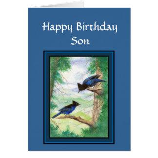 Hijo del cumpleaños - pájaro estelar de Jay, natur Tarjeta De Felicitación