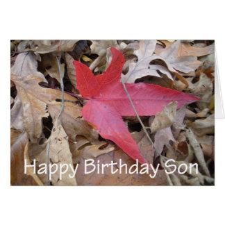 Hijo del feliz cumpleaños - hoja roja tarjeta de felicitación