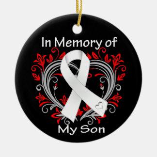 Hijo - en corazón del cáncer de pulmón de la adorno redondo de cerámica