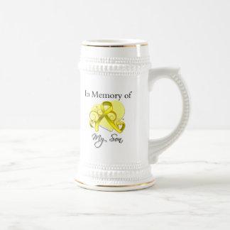 Hijo - en memoria del tributo militar jarra de cerveza
