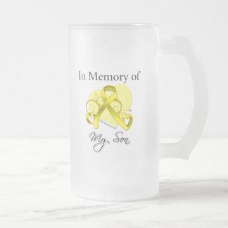 Hijo - en memoria del tributo militar jarra de cerveza esmerilada